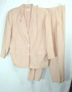 "ELISABETH PINK LINEN BLEND LINED 2 BUTTON BLAZER & 30"" INSEAM PANT SET 20 #L183"