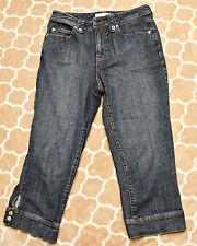 Chico's Platinum Jeans Womens Size 0.5 Cropped Capri Dark Wash Denim Snap Cuffs