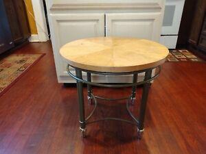 "Vintage Round Wood Too Table Designer Metal Legs 21"" Tall 24"" Wide"