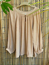 Natural Beige Tan Gold Boho Peasant Gypsy Pirate Blouson Folk Blouse Shirt Top