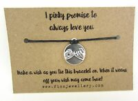 i Pinky Promise to Always Love You Message Card Tie Wish Bracelet Valentine Gift
