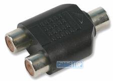 3.5mm MONO Jack Socket to 2 x Twin RCA Phono Female Socket Splitter Adapter