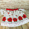 vintage Christmas Poinsettia Apron 1950s retro MCM Kitchy kitchen