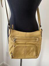 Tignanello Crossbody Bag Mustard Color Pebbled Leather