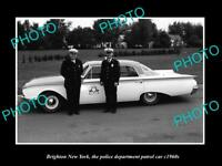 OLD LARGE HISTORIC PHOTO OF BRIGHTON NEW YORK THE CHEVY POLICE PATROL CAR c1960