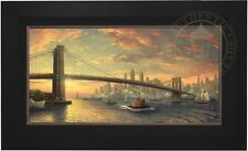 "Thomas Kinkade Spirit of New York 18"" x 36"" LE S/N Canvas (City Black Frame)"