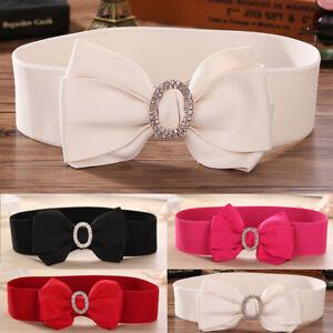 Rhinestone Buckle Bowknot Waist Belt Bow Tie Dress Band Women Diamante Waistband