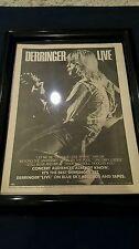 Rick Derringer Live Rare Original Classic Promo Ad Framed!