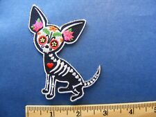 chihuahua skeleton and flowers patch with a little mini heart