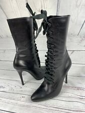 Ralph Lauren Lace Up Boots. Victorian Style High Heel Black Leather Boots, 38,5