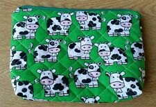 Handmade Quilted designer Fabric Make up cosmetic Bag cows fully lined gift