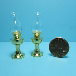 Dollhouse Miniature Brass Oil Lamps Set with Glass Shade Non-Working IM65429