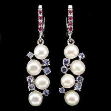 Ohrringe Perle Tansanit Rubin 925 Silber 585 Weißgold