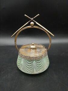 Antique Williams Webb Threaded Art Glass Cricket Trophy Biscuit Jar Humidor Rare