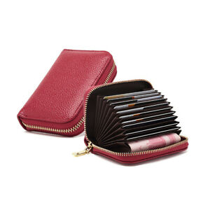 Credit Card Holders Genuine Leather Credit Wallets for Women Men RFID Protector