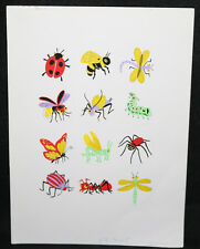 Original Greeting Card Artwork: 12 Cute Bugs - 1960s