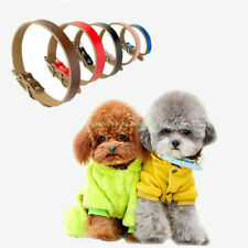 Leather Flat Dog Collar Adjustable Cowhide Collars for Soft Puppy Small Dogs#Q