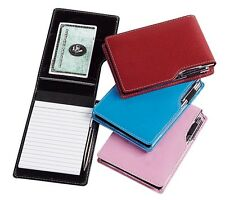 Travel Hand Mini Leather Writing Notepad Pen Meeting Notes Card Jotter G8355