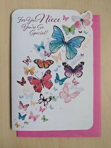 Niece Birthday Card - Butterflies Glitter Colour Female Ladies - SIMON ELVIN