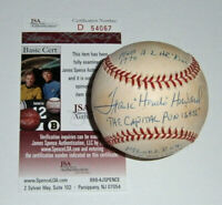 SENATORS Frank Howard signed STAT baseball w/ 5 Insc AUTO JSA COA Autographed