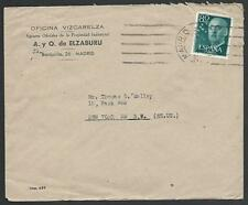 SPAIN 1956 airmail cover to USA : 80c with E perfin........................52785
