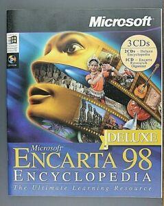 Microsoft Encarta 98 Deluxe Encyclopedia - Windows CD-ROM - Vintage Software