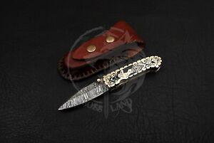 CUSTOM HANDMADE DAMASCUS STEEL BLADE POCKET,FOLDING,LINERLOCK KNIFE BRASS HANDLE