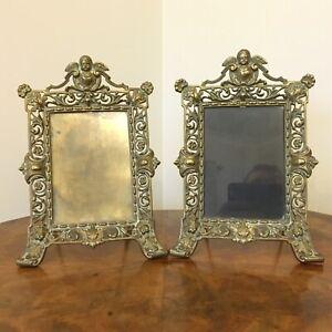 """Pair of Cast Brass Photograph Frames circa 1920's - 9"""" tall"""