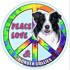 """Border Collie Dog Hippie Dog Magnet """"Peace & Love"""" Waterproof Magnet New"""