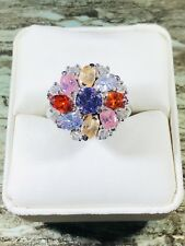 Multi -Color Gem Stones Sterling Silver Ring, Size 8.5, Free Shipping, 138