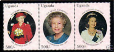 UGANDA 1996 HM QUEEN 70th BIRTHDAY STRIP OF ALL 3 COMMEMORATIVE STAMPS MNH