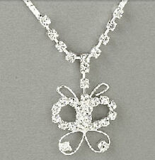 Butterfly Necklace Silver Earring 2 Piece Jewelry Set