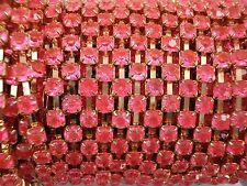 Acrylic 4mm Rhinestone Chain 1m Pink/Gold Costume Sew Dance FREE POSTAGE