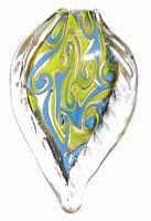 P1241 Light Blue Yellow Swirl Gold Sparkle 66mm Leaf Drop Lampwork Glass Pendant