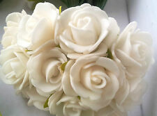 12 Rosen Rosenstrauß Schaumrosen Foamrosen Dekorosen Creme 2 cm Traum !