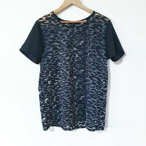 French Connection Black Animal Print Shirt Transparent Sheer Womens Size L