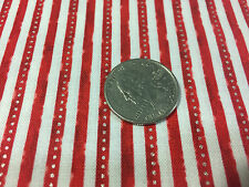 "BTY~RED ROOSTER FABRIC 100% COTTON~ WINTER CELEBRATION ~ STRIPE~ RED-GOLD ~45""W"