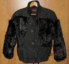 Vtg Sergio Valente BLACK DENIM REAL RABBIT FUR JEAN JACKET Lined Coat L 12 13 14