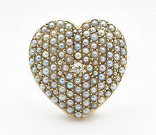 1880's Victorian 14K Pave Pearl / Diamond Heart Pendant / Brooch / Watch Holder