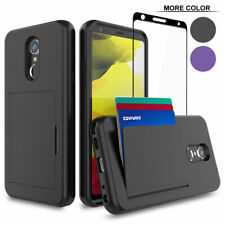 LG Stylo 5 / 5+ / 5x , 3 Card Slot Armor Case Tempered Glass Screen Protector