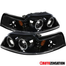 For 1999-2004 Ford Mustang Slick Black LED Halo Rims Projector Headlights
