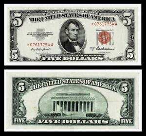 **STAR NOTE** 1953-A $5 RED SEAL UNITED STATES NOTE ~~EXTRA FINE