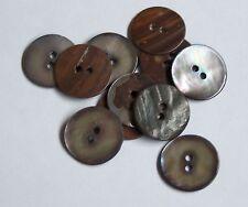 Pack 10 Shell Dark Grey MOP 19mm 2 Hole Button   0050
