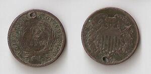 USA 2 cents 1864  holed