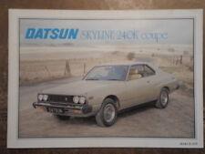 DATSUN SKYLINE 240K COUPE orig 1979 UK Mkt Sales Brochure - Nissan