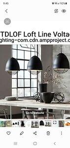 LBL/ Tech Lighting Loft 1 Light Pendant, Black/Nickel Cage- 876BLPN-LED827