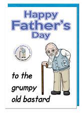 Funny Rude Joke Dad Grandad Old Man Fathers Day Badge Card - Grumpy Old Bastard