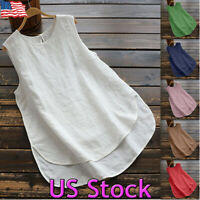 Summer Womens Casual Cotton Linen Solid Sleeveless Loose Blouse Vest Tank Tops