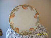 Limoges France Porcelain Gilt Gold Orange/Peach Floral Pattern Platter