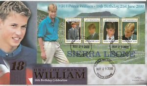 SIERRA LEONE 29 MAY 2000 PRINCE WILLIAM 18th BDAY BENHAM LE FIRST DAY COVER